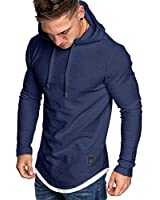 MorwenVeo Men's Casual Hooded T-Shirts - Fashion Long Sleeve Solid Color Pullover Top Blouse