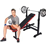 Adjustable Folding Weight Bench Multi-Function Incline Seat Fitness Barbell Rack for Home Gym Strength Training Max load 330lbs (Black Red)