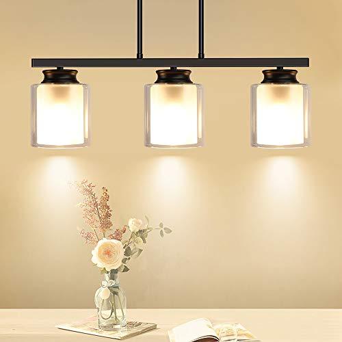 DLLT 3-Light Pendant Light Fixture, Metal Kitchen Island Lighting with Glass Shade, Industrial Farmhouse Flush Mount Ceiling Hanging Light for Dining Room, Foyer, Restaurant, Bar, E26 Base