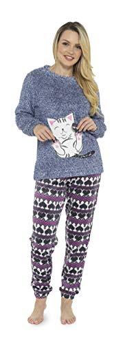 Pijama de Pijamas cómodos Pijamas Snuggle Pijamas cálidos Pijama Twosie Set | Desgaste salón Suave para Las Mujeres para Las Mujeres (S, Gato Marga Azul)