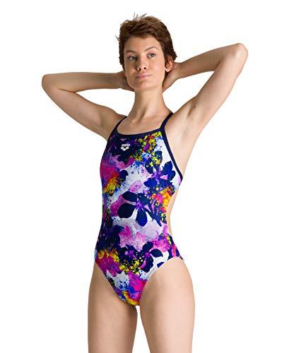 ARENA W Challenge Back One Piece Sport-Badeanzug Damen Glow Floral M Marineblau-Mehrfarbig