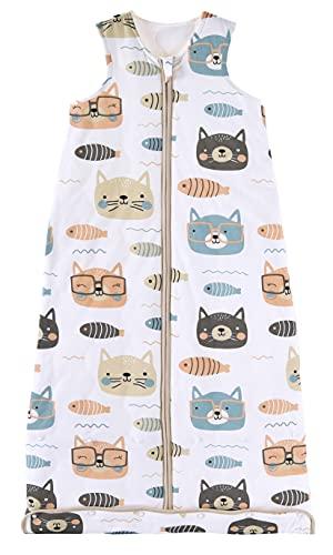 Chilsuessy Baby Ganzjahres Schlafsack, 2.5 Tog Schlafsack für Kleinkinder, Ärmellos Winter Babyschlafsack mit einstellbarer Länge, Natur Baumwolle, Katze und Fisch, 110cm/Baby Höhe 100-120cm
