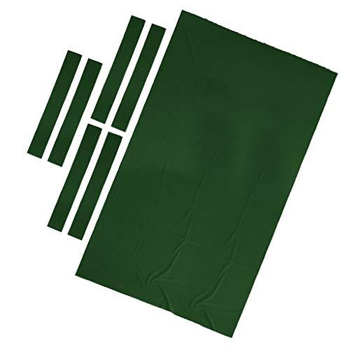 B Baosity Nappe Tissu de Table de Billard de 9ft en Nylon + Laine avec 6pcs Bande de Feutre - Vert, comme Décrit