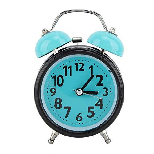 FPRW wekker, dubbele wekker, verlicht, nachtlampje, lichtblauw, verlicht, dubbele wekker, groen en zwart