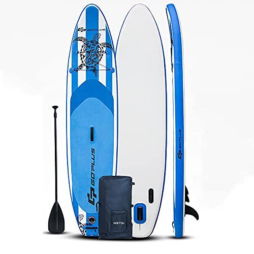 SUP Hinchable Stand Up Paddle Board Kit | 11 'de largo | 6 'de grosor | Paleta ajustable | Mochila de transporte | Bomba de doble acción | Correa de seguridad para el tobillo | Bolsa de almacenamiento