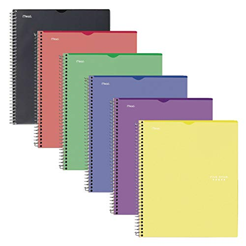 """Five Star Interactive Notetaking, 1 Subject, College Ruled Spiral Notebooks, 100 Sheets, 11"""" x 8-1/2"""", Customizable, 6 Pack (38593)"""