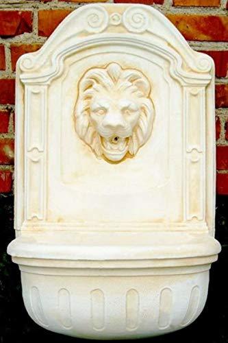 Casa Padrino Barock Wandbrunnen Löwe Weiß/Beige H. 77 cm - Gartenbrunnen im Barockstil
