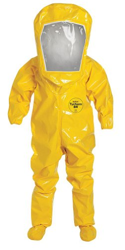 Dupont BR528TYLXL000100 Tychem BR Encapsulated Level B Suit, Expanded Back, Rear Entry, 1 Layer, X-Large, Yellow