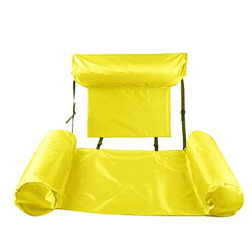 CYSJ Aufblasbare Wasser-Hängematte, aufblasbar, schwimmend, Liegestuhl, Bett, schwimmendes Sofa, Sommer, faltbar, aufblasbarer Rückenlehne, Gelb