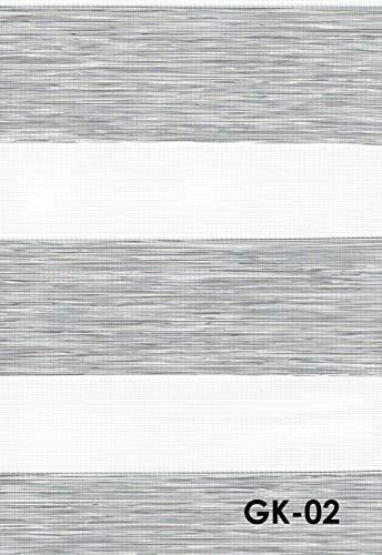 Duo Rollo Doppelrollo Farbe hell grau meliert Breite 200 cm Länge 200 cm mit breiter Beschwerung geschlossener Kassette Kettenzug Alternative zu Gardine oder Plissee (200 cm, 200 cm)