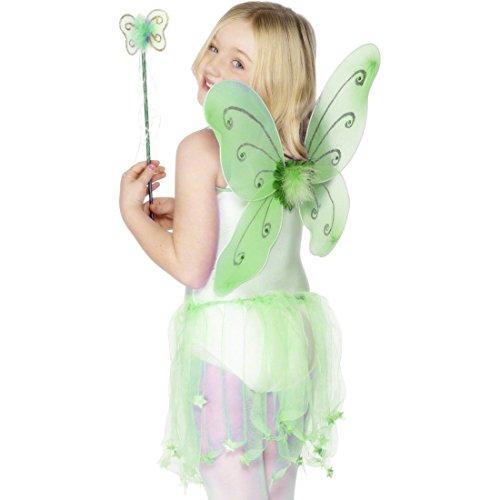 NET TOYS Grüne Feenflügel Schmetterlingsflügel grün für Kinder ab 3 Jahre Feen Flügel Elfenflügel Schmetterlingflügel Kostüm Zubehör