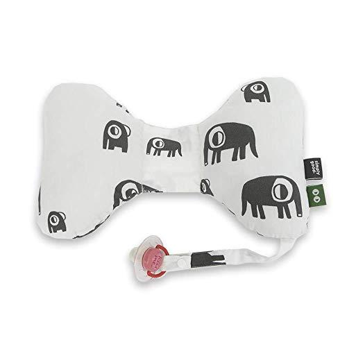 SIMPLY GOOD. Cojín de mariposa para bebé, asiento de coche, soporte para la cabeza para bebés, para edades de 0 a 36 meses, tamaño 13,7 x 8,6 pulgadas (elefantes grises sobre blanco)
