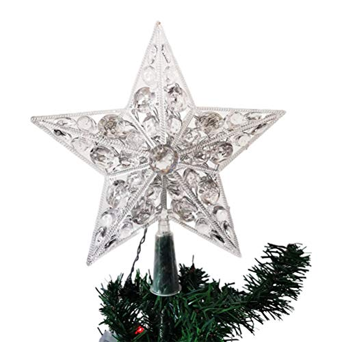 BakaKa Christmas Tree Star Topper With LEDs Lights Xmas Tree Glittered Tree-top Lamp Ornament Party Home Decor