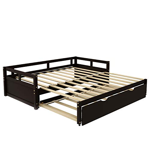 Beds,Extending Daybed with Trundle, Wooden Daybed with Trundle, Espresso