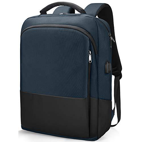NEWHEY Zaino Porta PC Portatile per Lavoro Uomo 15 Pollici Impermeabile Borsa Zaini da Notebook Laptop Scuola Viaggio Affari USB 15,6 Blu Scuro