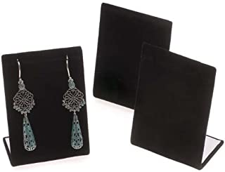 3 Pieces Black Velvet Leaning Earring Stands/Jewelry Displays 3.5 Inches Tall (Black Velour, 3)