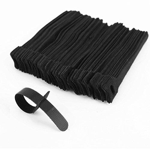 Shentian 100 pezzi Confezione Fascette Ferma cavo in Velcro - Ideale per sistemare Cavi Pc, TV - Colore: Nero