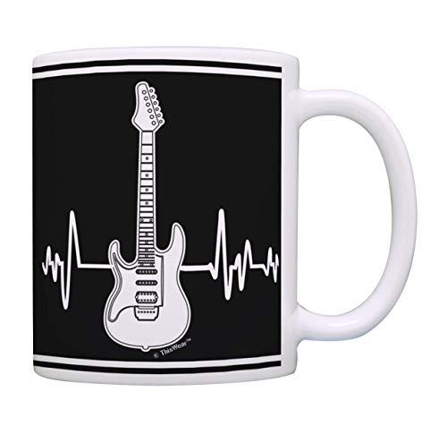Regalos para amantes de la música Guitarra eléctrica Taza con latido del...