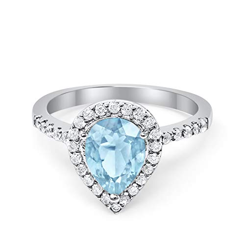 Blue Apple Co. Halo Teardrop Bridal Filigree Ring Pear Simulated Aquamarine CZ Round Cubic Zirconia 925 Sterling Silver, Size-6