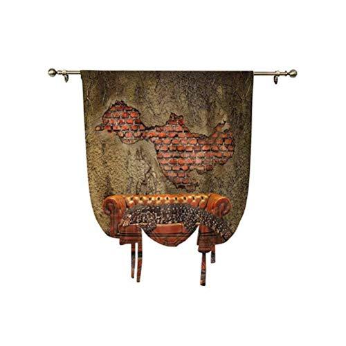 Cortina opaca con aislamiento térmico para ventana de Decadence Grunge Ruin Ladrillo y un lagarto gigante en el sofá, arte surrealista, 95 x 150 cm, para ventanas del hogar, color bermellón