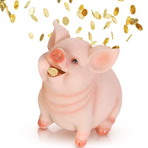 DIYARTS Piggy Bank Unopenable Cute Pig Shaped Coin Money Box Small Silicone Cash Savings Container for Kids Boys Girls (L)