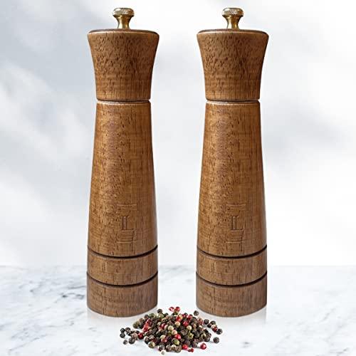 Liague Pfeffermühle aus echtem Holz - hochwertige, edle Verarbeitung - Salz und Pfeffer Mühle Gewürzmühle im Set mit Keramikmahlwerk zum Einstellen des Mahlgrads (21,5cm Größe)