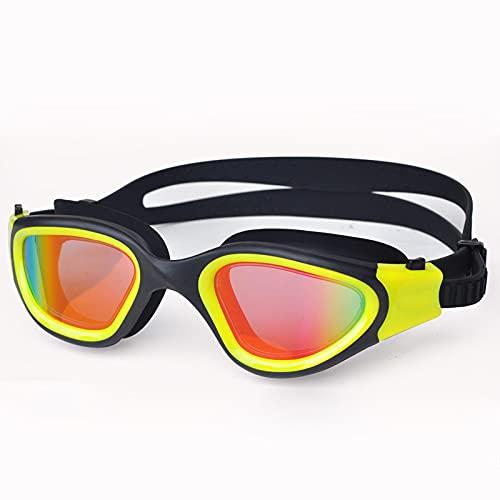 Gafas de natación para adultos antivaho y antivaho, lentes ultravioletas para hombres y mujeres, gafas de natación impermeables, ajustables, de silicona, amarillo, 173 x 45 mm