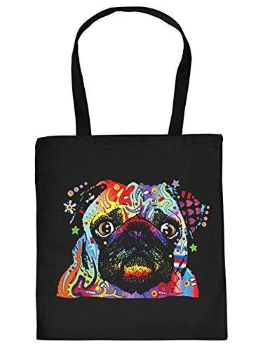 Mops-Spaß/Fun-Tasche/Stofftasche/Beutel Neon-Druck: Pug - tolles Geschenk