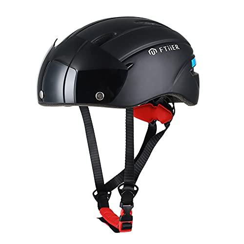 LHWQAN Casco de Gafas magnéticas, Casco de Bicicleta de una Pieza, Seguridad Deportiva de Seguridad de Seguridad, Materiales, tamaño Ajustable (54-61cm) Black