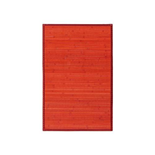 Alfombra pasillera de bambú roja de 90x60 cm - LOLAhome