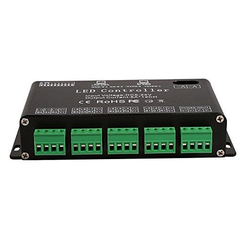 Controlador LED, módulo de tira de controlador decodificador DMX Atenuador decodificador LED de 6 canales, atenuador DMX DC5V-24V Decodificadores LED DMX para iluminación LED de luz RGB