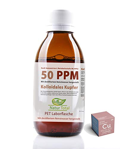 Kolloidales Kupfer 50 PPM - hoch konzentriert (Reinheitsstufe 99,99%) hochwertige PET Laborflasche (1000 PET)