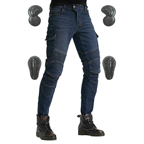 Men's Motorcycle Riding Pants Denim Jeans Protect Pads Equipment with Knee and Hip Armor Pads VES6 (Blue, L=32)
