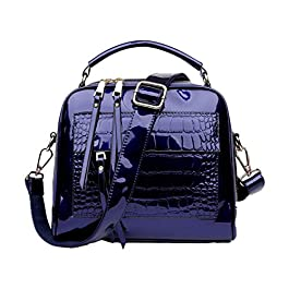 SDINAZ® Sacs portés Main Femme Mode Vernis Cabas Sacs portés épaule Sacs bandoulière Sac a Main FR88 Bleu Royal