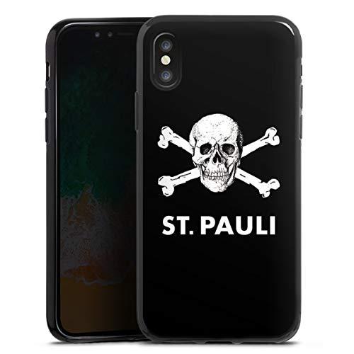 DeinDesign Silikon Hülle kompatibel mit Apple iPhone X Case schwarz Handyhülle FC St. Pauli Totenkopf Offizielles Lizenzprodukt
