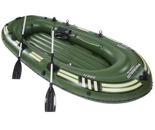 SZFMMY ®Heavy duty 300kg Inflatable Raft Boat Dinghy fishing Set 4 Person Canoe With Paddle Water Sports(265cm x 130cm x 46cm)