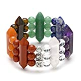 Jovivi 7 Chakra Pulsera 8 mm Perlas Hexagon Columna Piedra Natural 3 Capas de energía Pulsera Healing Reiki Yoga Stretcharmband