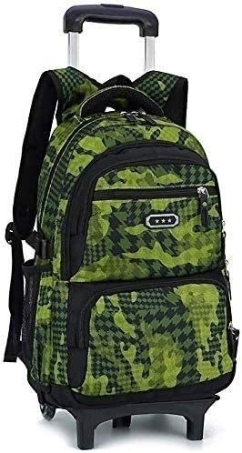 no bran Backpack Children's School Bags Backpack Schoolbag Waterproof Scroll Wheel Wheeled Luggage Bag Pupils Backpack (Color : Green, Size : Free size)