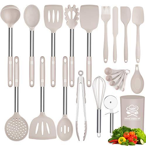 Silicone Cooking Utensil Set, Taiker Kitchen Cooking Utensils Set, Non-stick & Heat Resistant Silicone Cookware, BPA Free Non-Toxic Cooking Utensils, Kitchen Tools (Khaki)