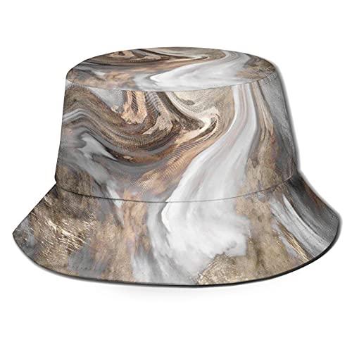 Pincel de estilo retro colores en textura de mármol ilustraciones de acuarela unisex impresión doble cara de desgaste reversible sombrero de cubo