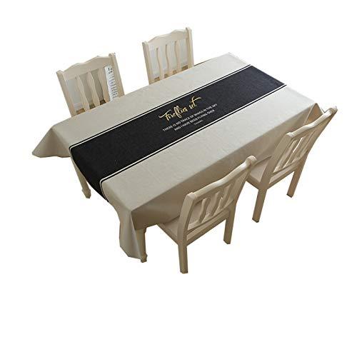 Mantel De Lino De Algodón Grueso Azul Negro Mantel Simple Sala De Estar Mantel De Café Paño De Comedor Cubierta Toalla Impermeable Y A Prueba De Aceite