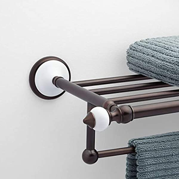 Signature Hardware 413148 Adelaide 21 3 8 Solid Brass And Porcelain Towel Rack