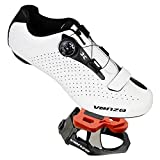 Venzo Cycling Bicycle Cycle Road Bike Shoes Men White - Compatible with Shimano SPD, SPD SL, Look KEO, Look Delta - Package Including: Vezno Look Keo Pedals & Cleats Size 48