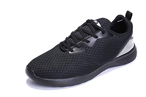 Tianui Walking Shoes Men Women Fashion Breathable Sneakers Casual Athletic Lightweight Outdoor Sports Shoes (Black-098, 10)