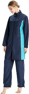 ملابس سباحة عصرية مرنة للغاية للنساء المسلمين بوركيني حجاب إسلامي ملابس بحر بغطاء كامل (اللون: أزرق داكن، المقاس: إكس لارج)