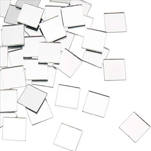 PandaHall Azulejos cuadrados de mosaico de espejo, 50 piezas mini de cristal...