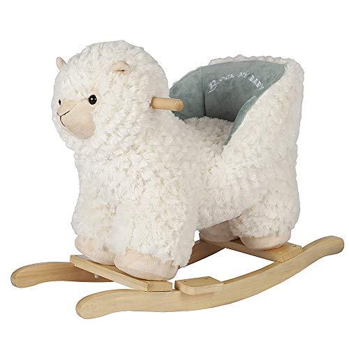 ZXJJD Baby Rocking Horse, Alpaca Llama with Chair Plush Stuffed Animal Rocker Wooden Rocking Toy Llama Animal Ride