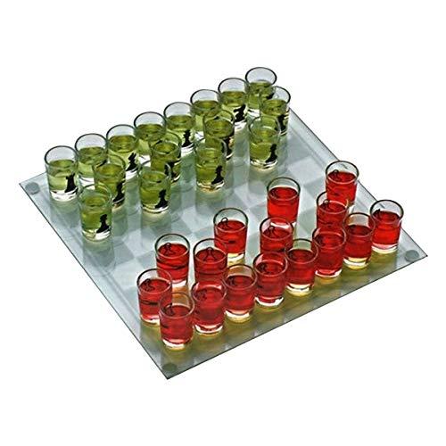 ajedrez para beber 1 tapa de cristal, 32 fichas de cristales tiradores