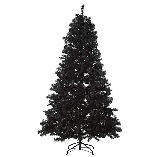 HOMCOM 6ft Artificial Christmas Tree Holiday Home Decoration Automatic Open, Black Halloween Style