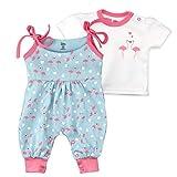 Baby Sweets 2er Baby-Set mit Strampler-Hose & Shirt für Mädchen/Baby-Erstausstattung in Rosa-Türkis in Flamingo-Optik/Baby-Kleidung aus Baumwolle ls Baby-Outfit in Größe: 6-9 Monate (74)